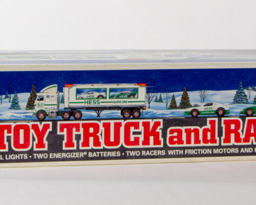 Packaging of Hess race car carrying truck and race cars.