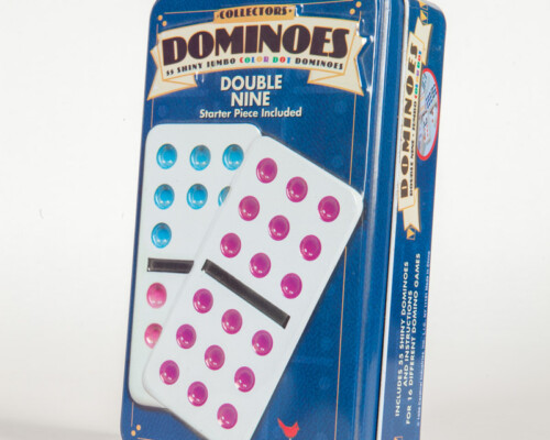 Front of dominoes game tin, shows two dominoes on blue background.