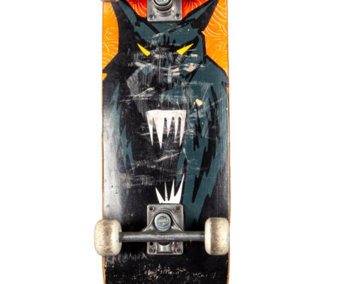 Bottom side of Skateboard. Wear on the trucks and wheels and deck pattern depicts a gray wolf or monster.