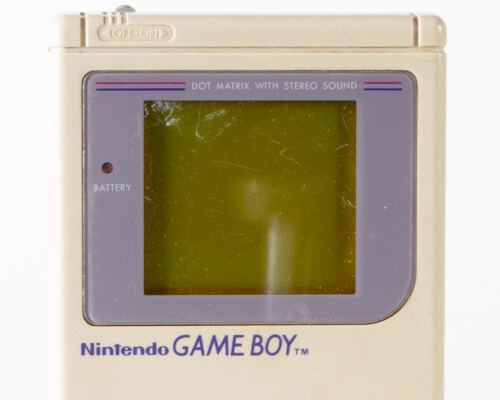 Close up of Nintendo Game Boy screen and text.