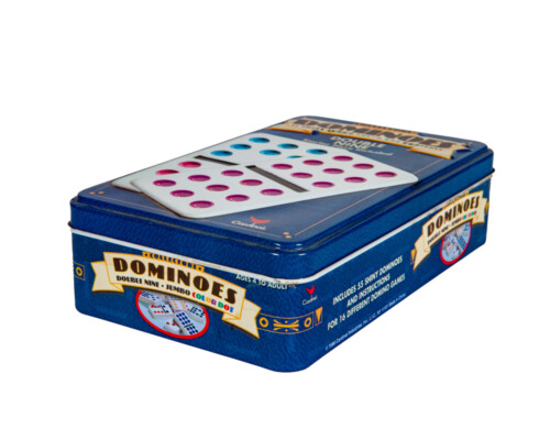 Metal dominoes game tin, largely blue and white.