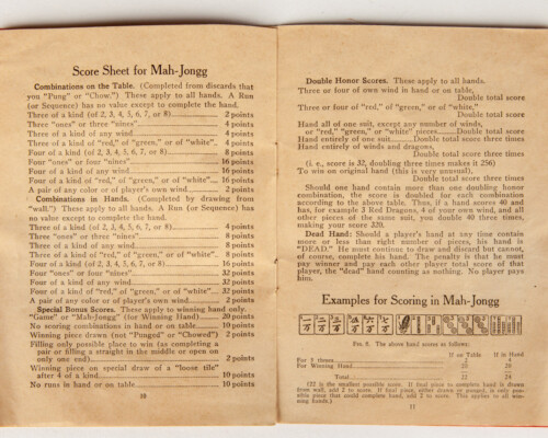 Page illustrating the the rules and set up of Mah-Jongg.
