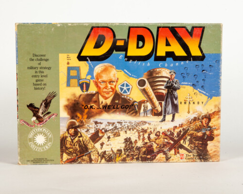 Front of D-Day board game depicting several World War 2 scenes.