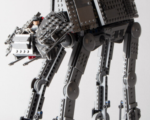 Front/side view of Lego Star Wars AT-AT. Canopy is missing and a foot is broken.