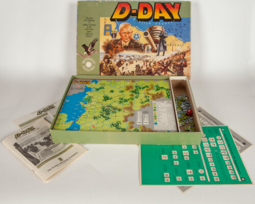 D-Day board game. Box is open showing the game, rule books, and tokens.