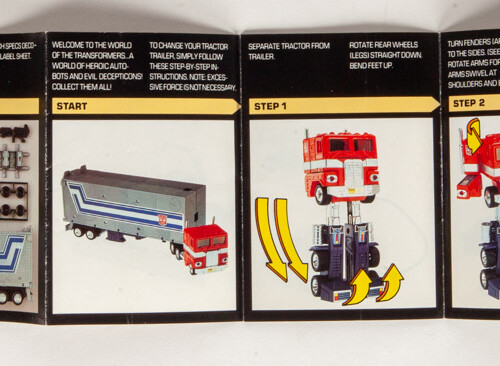 Instruction manual for the Optimus Prime transformer and trailer.