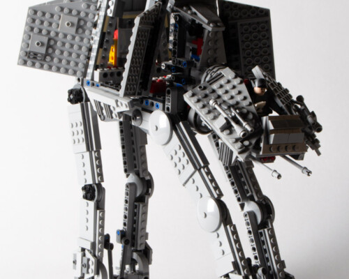 Side view of Lego Star Wars AT-AT with doors open, showing interior.